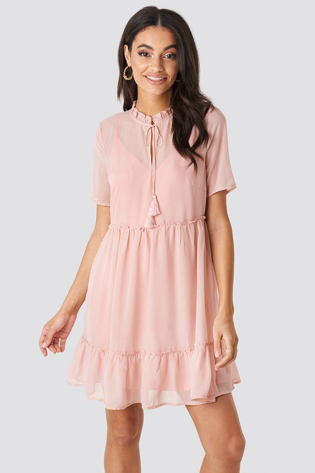 Short Sleeve Flowy Mini Dress Dusty Pink