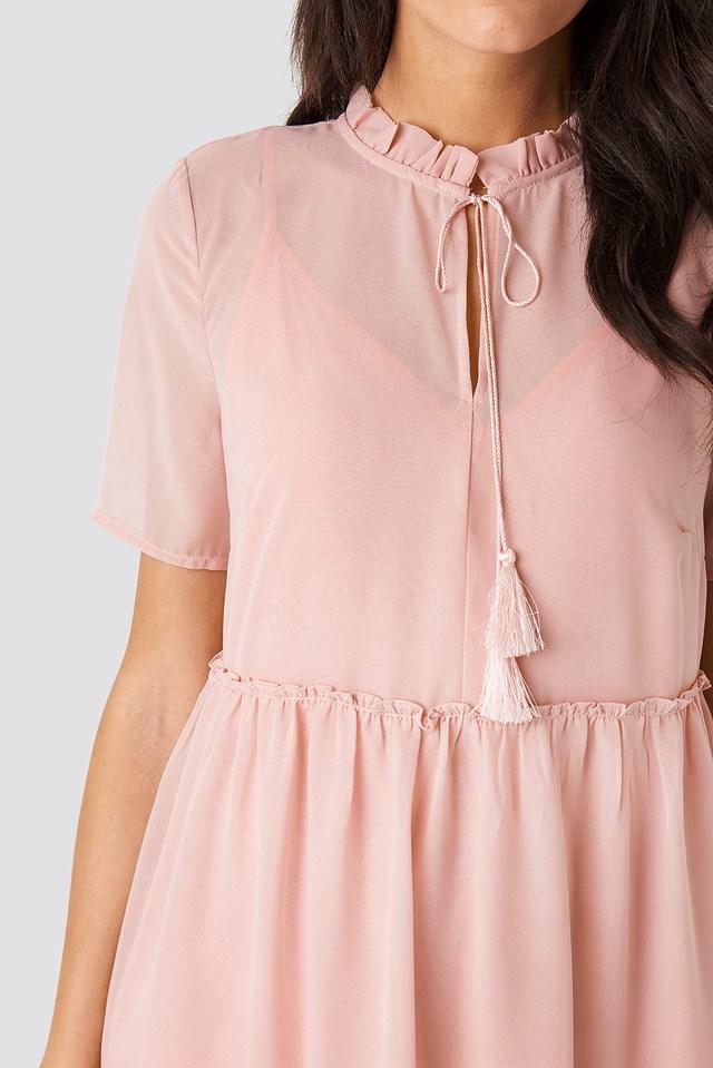 Short Sleeve Flowy Mini Dress Dusty Pink