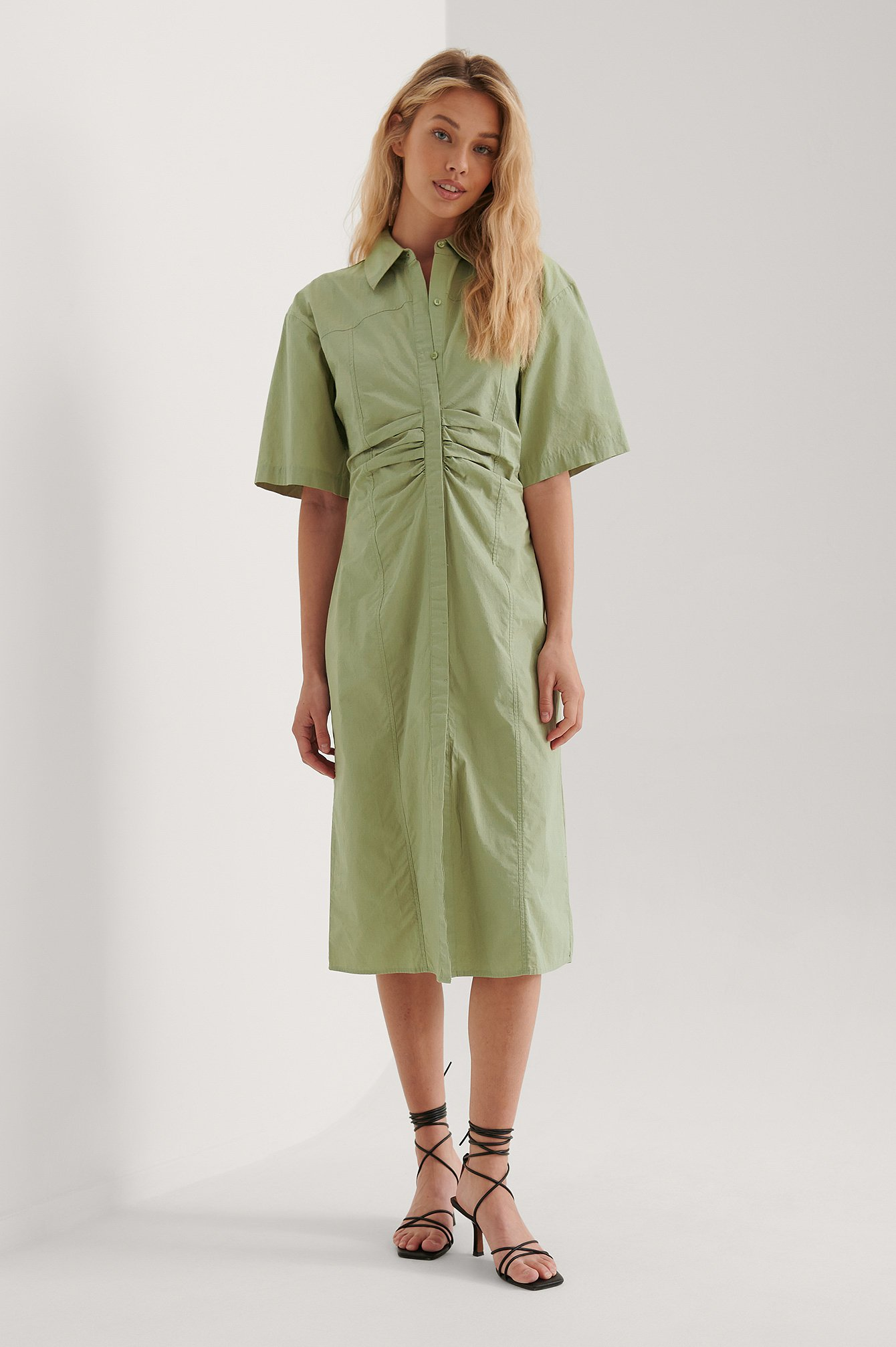 Dusty Green Short Sleeve Gathered Midi Dress