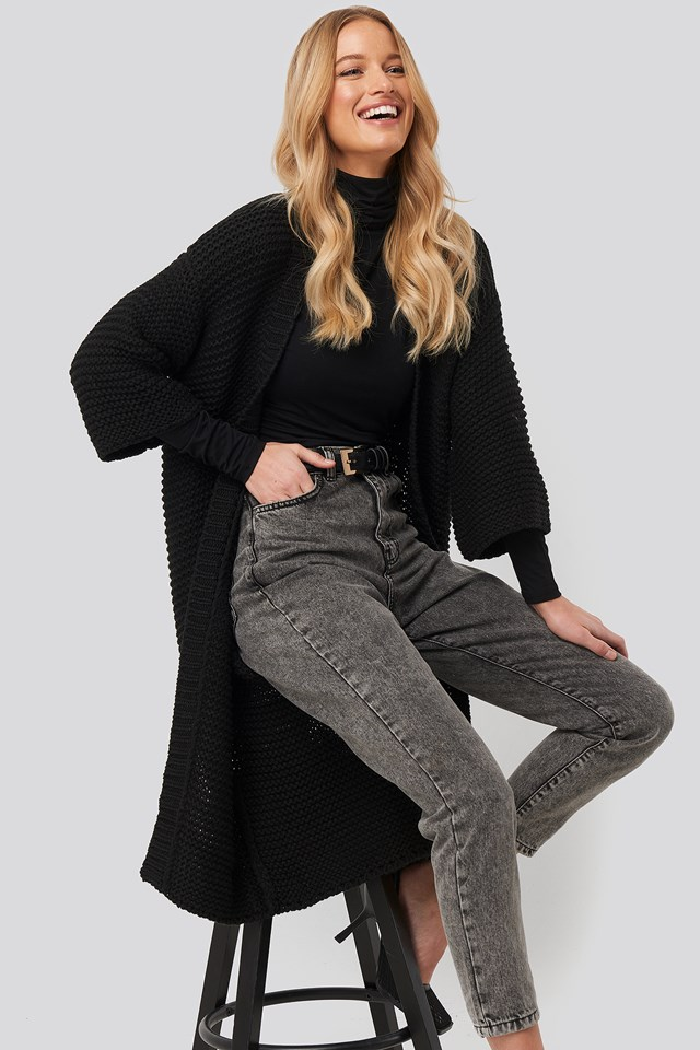 Short Sleeve Heavy Knitted Cardigan Black