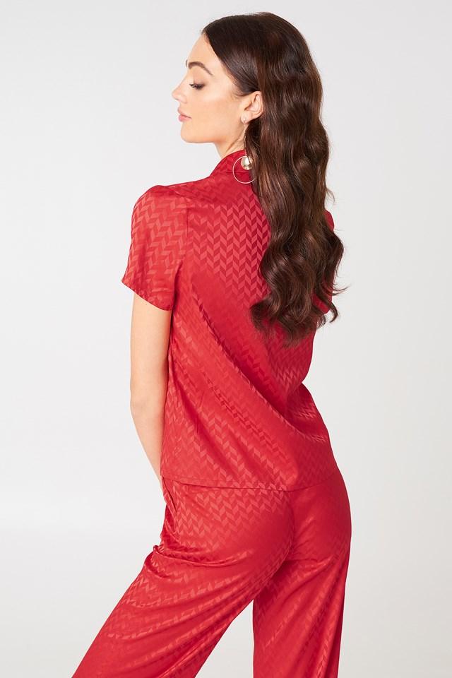 Żakardowa koszula z krótkim rękawem Red