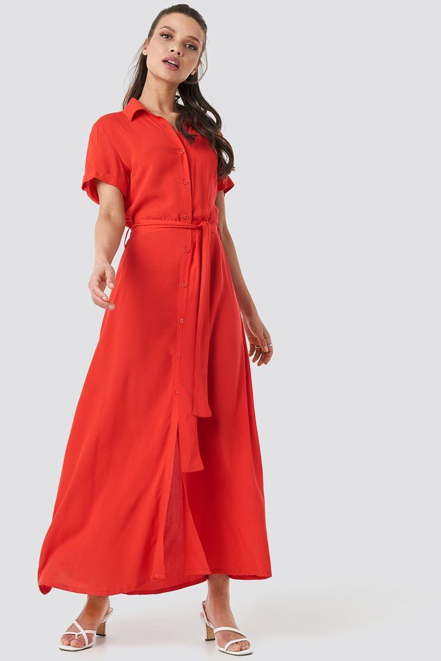 Short Sleeve Maxi Dress Red