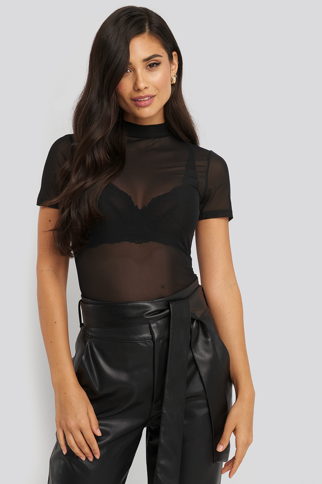 Black Short Sleeve Mesh Top