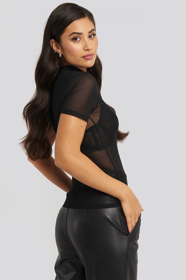 Short Sleeve Mesh Top Black