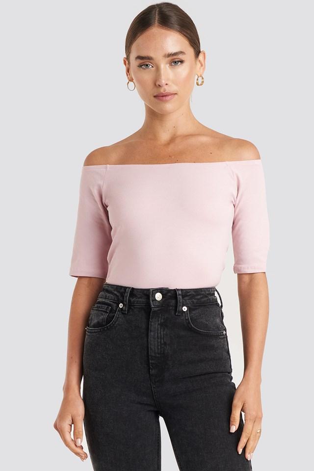 Short Sleeve Off Shoulder Top Dusty Light Pink