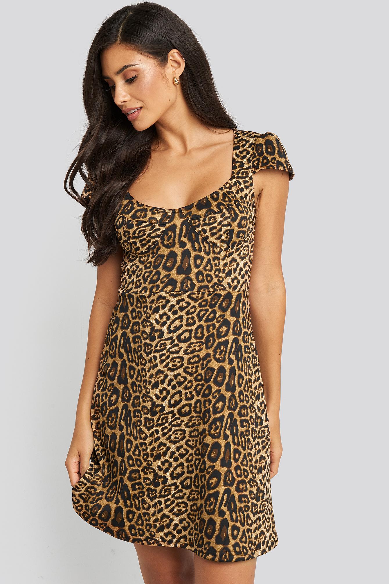 na-kd trend -  Short Sleeve Printed Mini Dress - Brown,Multicolor
