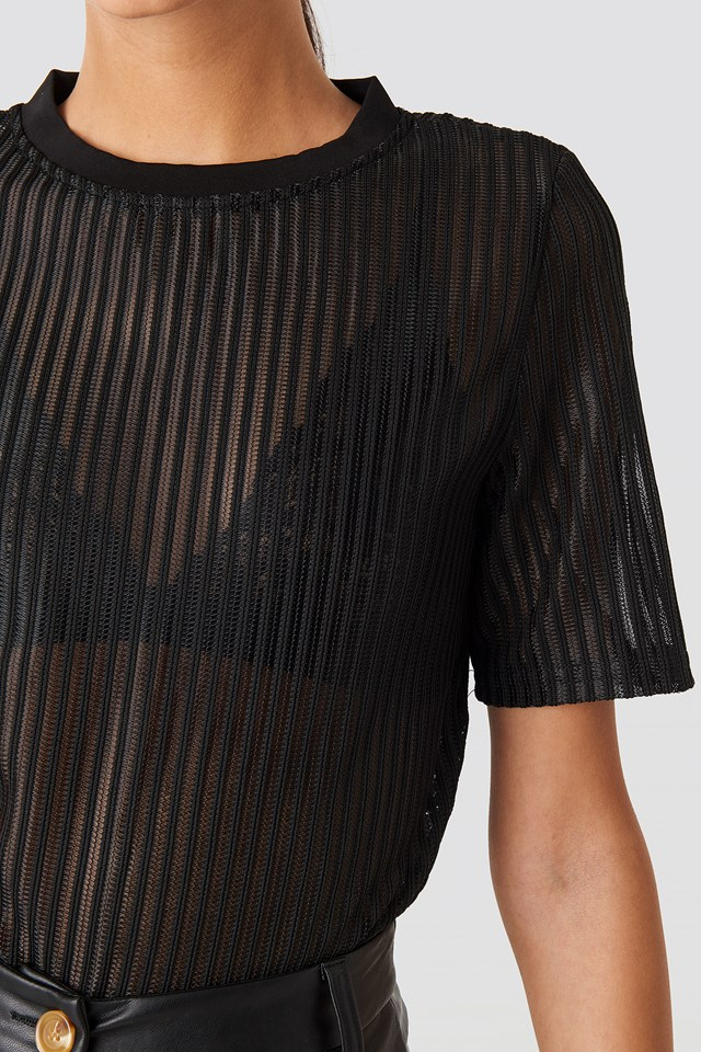 Short Sleeve Round Neck Top Black