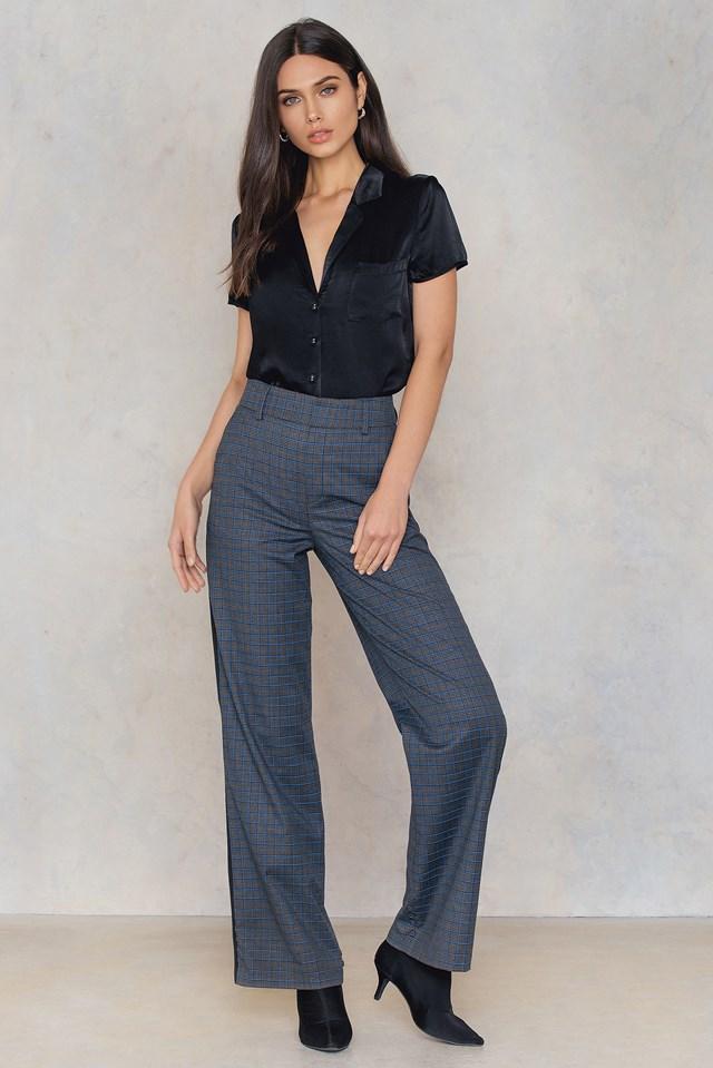 Short Sleeve Satin Shirt Black