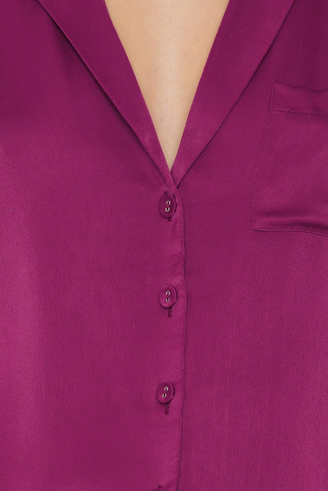 Short Sleeve Satin Shirt Dark Purple