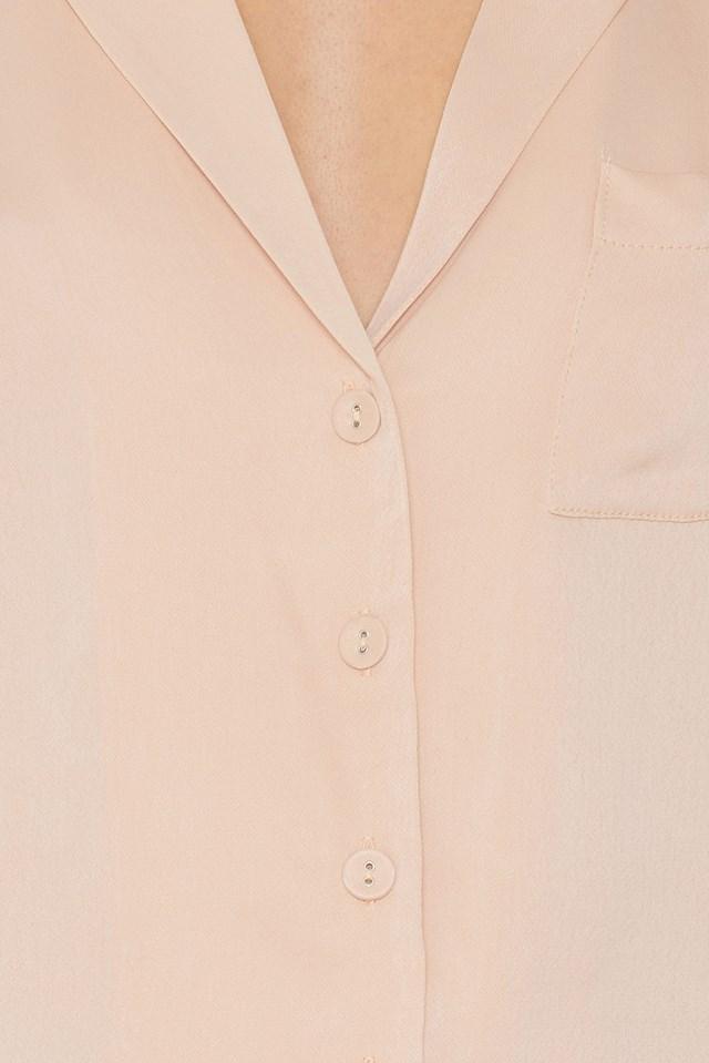 Short Sleeve Satin Shirt Pink champagne