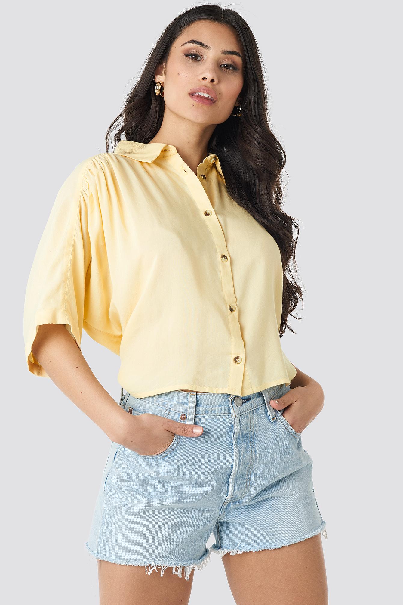 na-kd -  Short Sleeve Shirt - Yellow