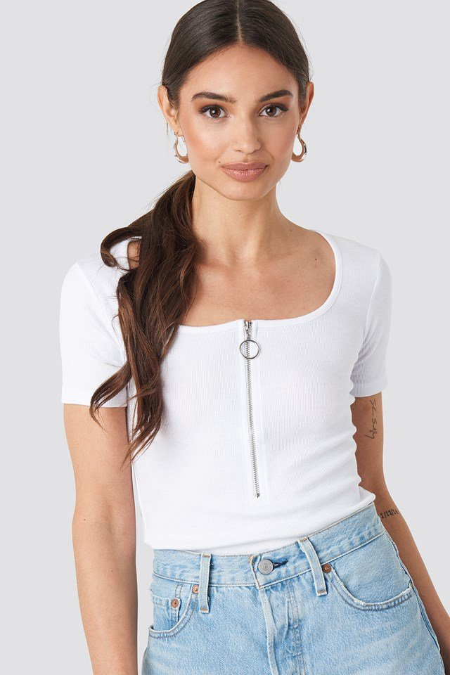 Short Sleeve Zipped Top White