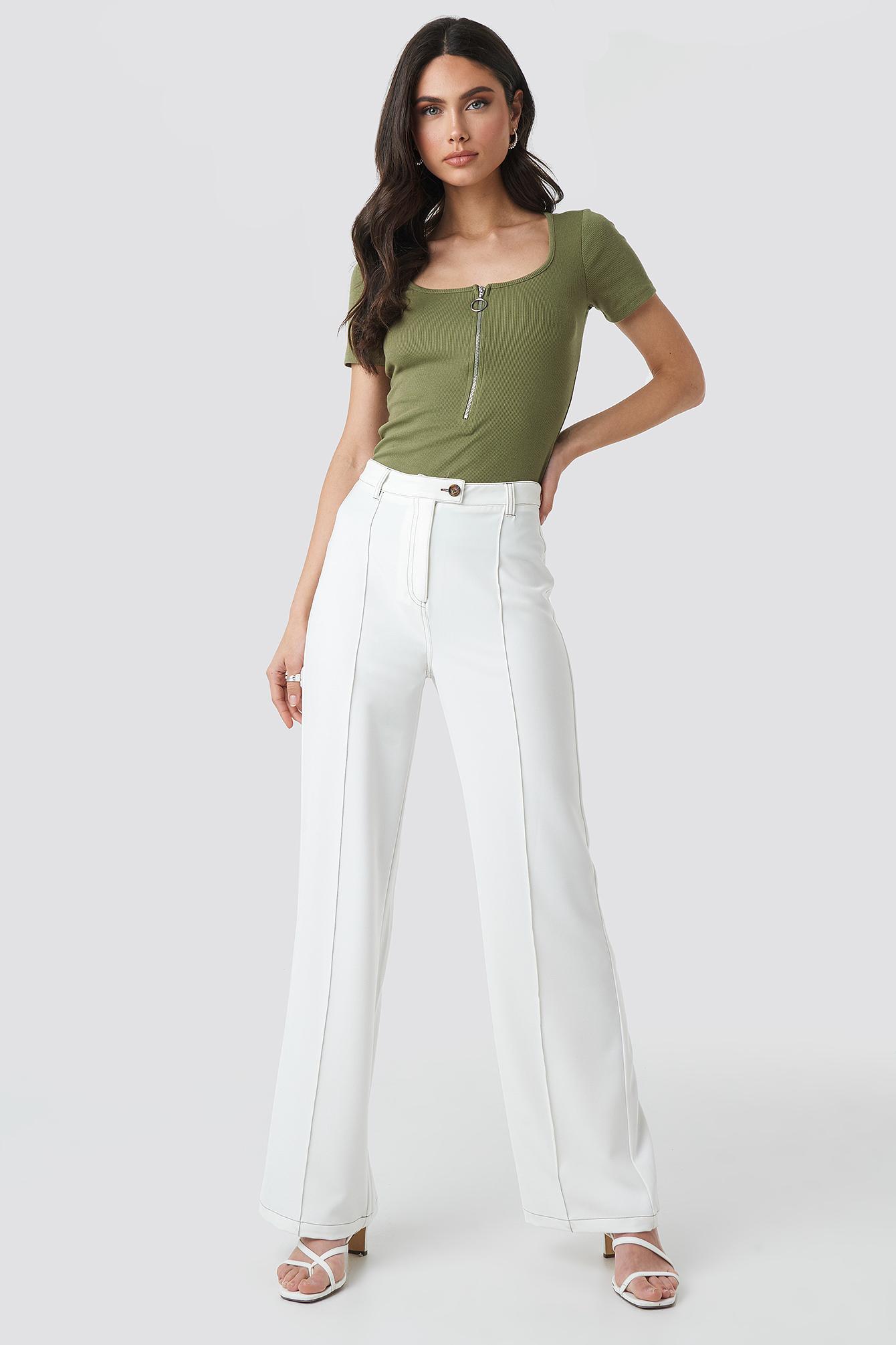 Short Sleeve Zipped Top NA-KD.COM