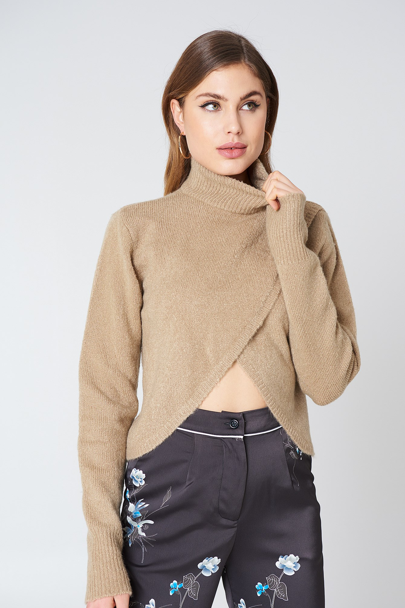 Short Wrap Knitted Sweater NA-KD.COM
