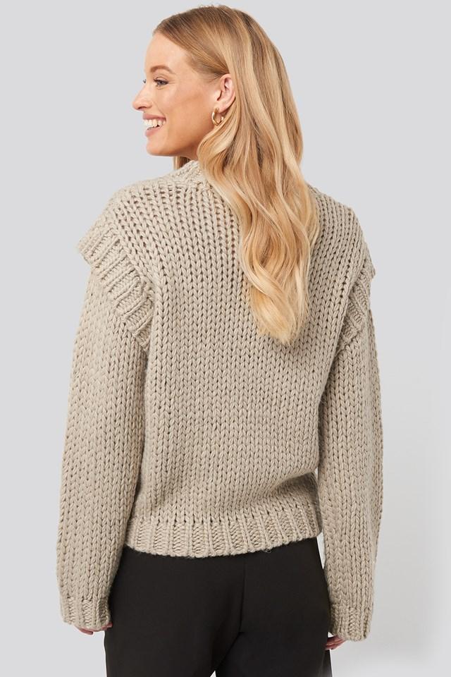 Wool Blend Shoulder Detail Knitted Sweater Beige