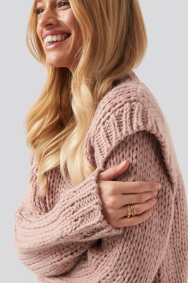 Wool Blend Shoulder Detail Knitted Sweater NA-KD Trend
