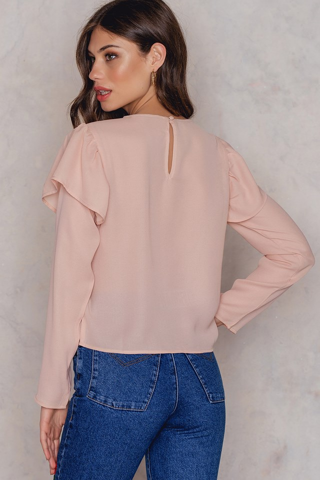 Shoulder Flounce Blouse Light Pink