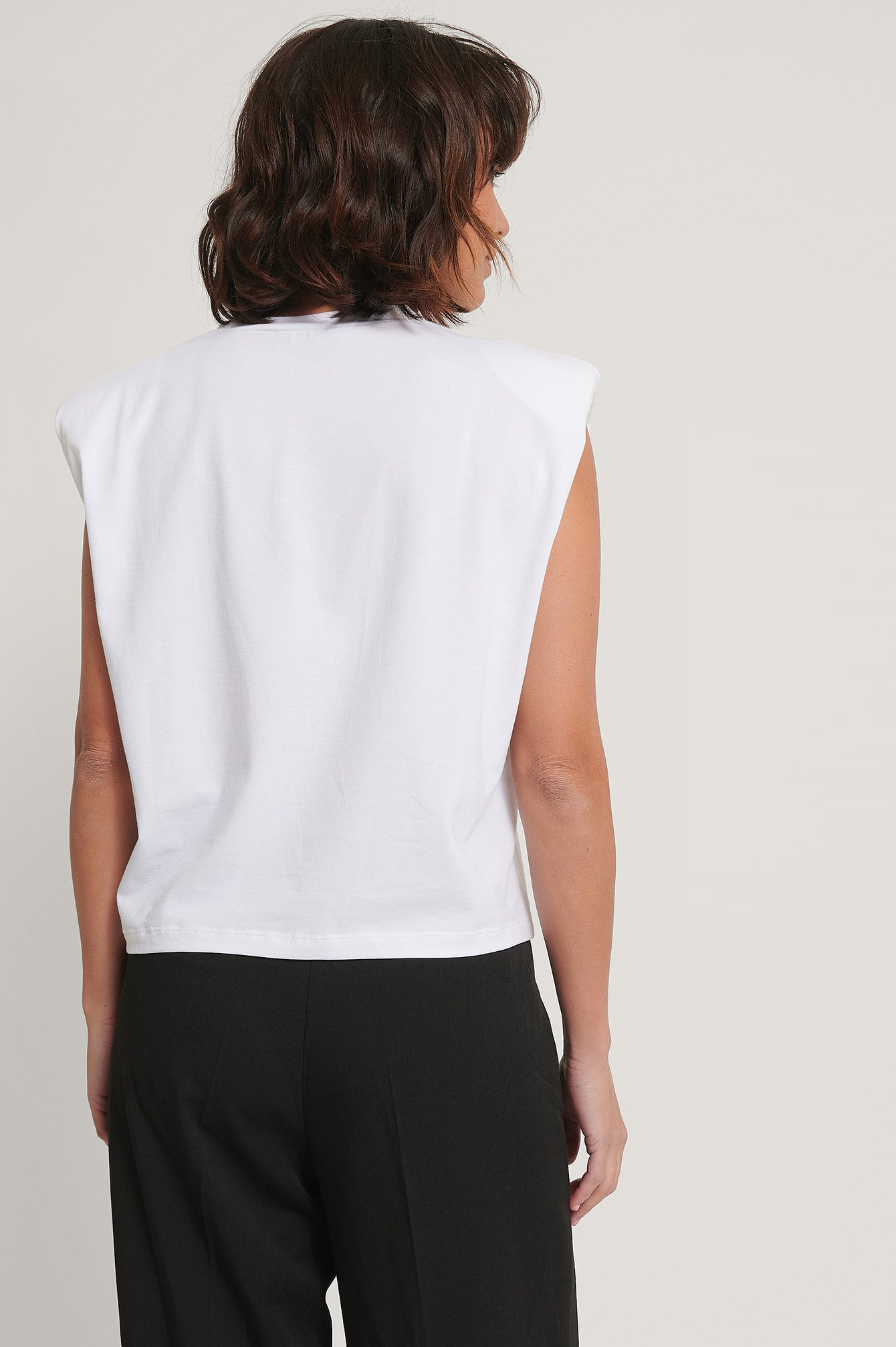 White Shoulder Pad Detail Top
