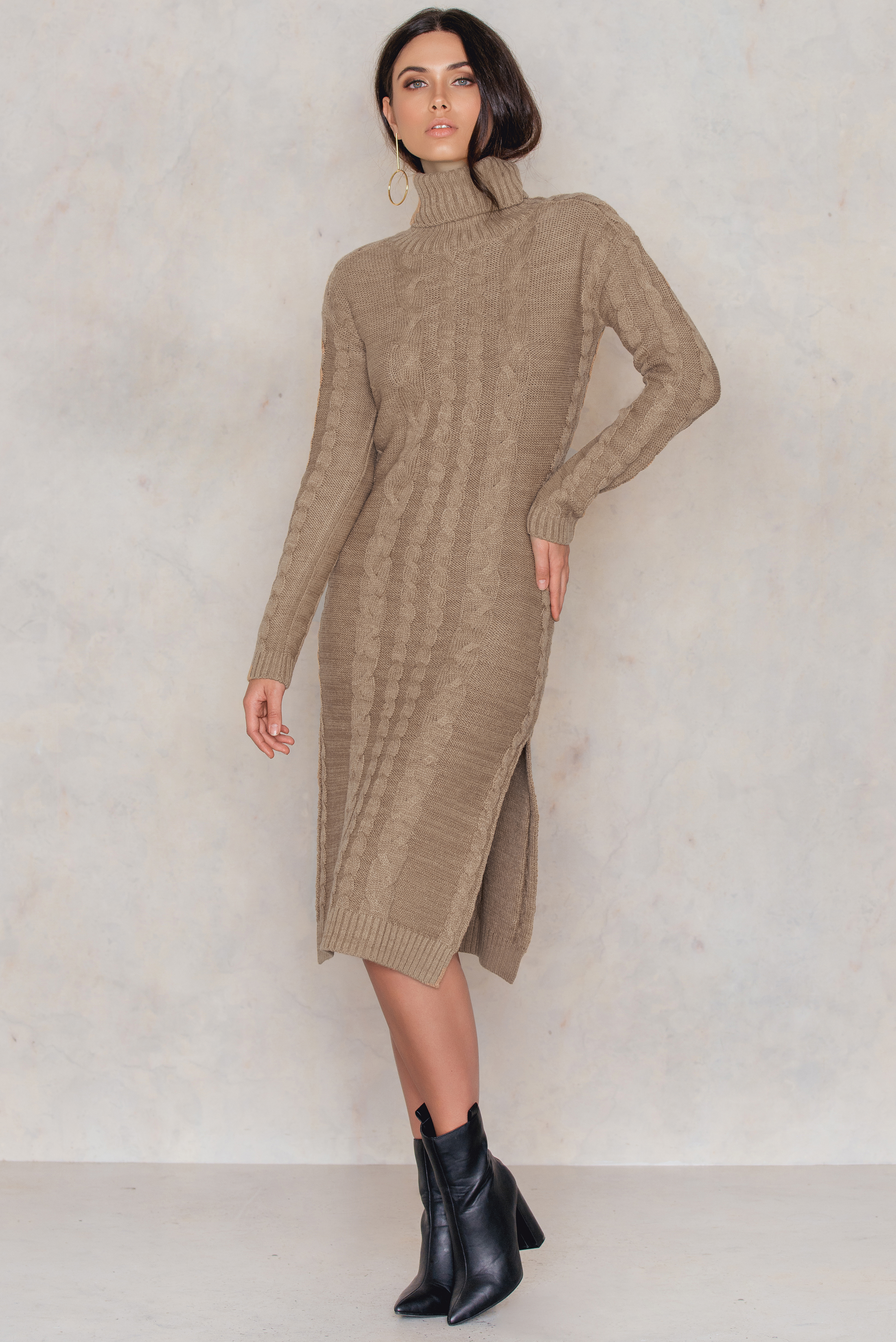 Beige Side Slit Braided Knitted Dress