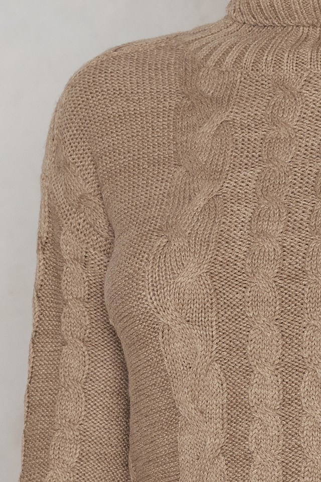 Side Slit Braided Knitted Dress Beige