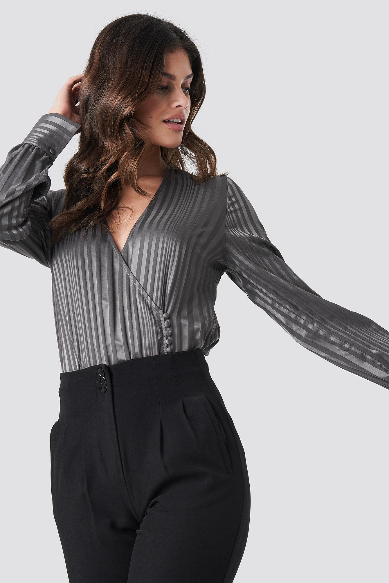 Side Button Up Blouse NA-KD.COM