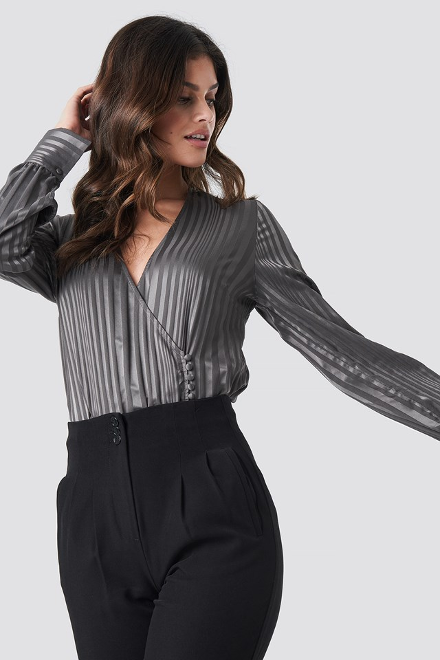 Side Button Up Blouse Grey