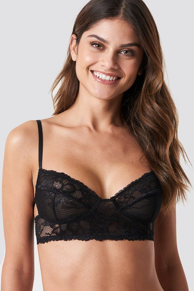 Side Cut Lace Bralette Black