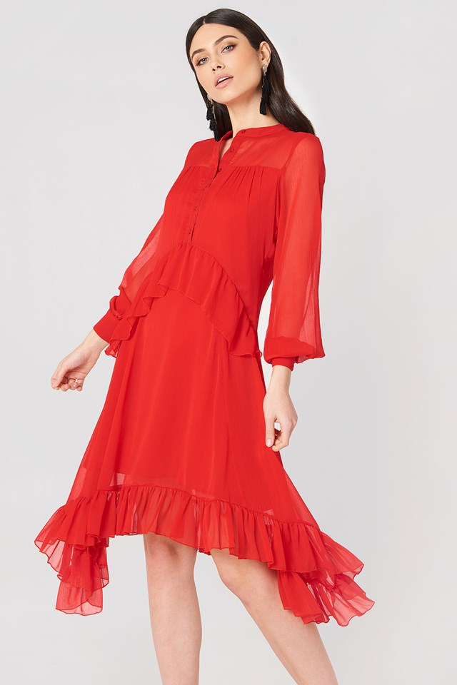 Sukienka z falbanką Red
