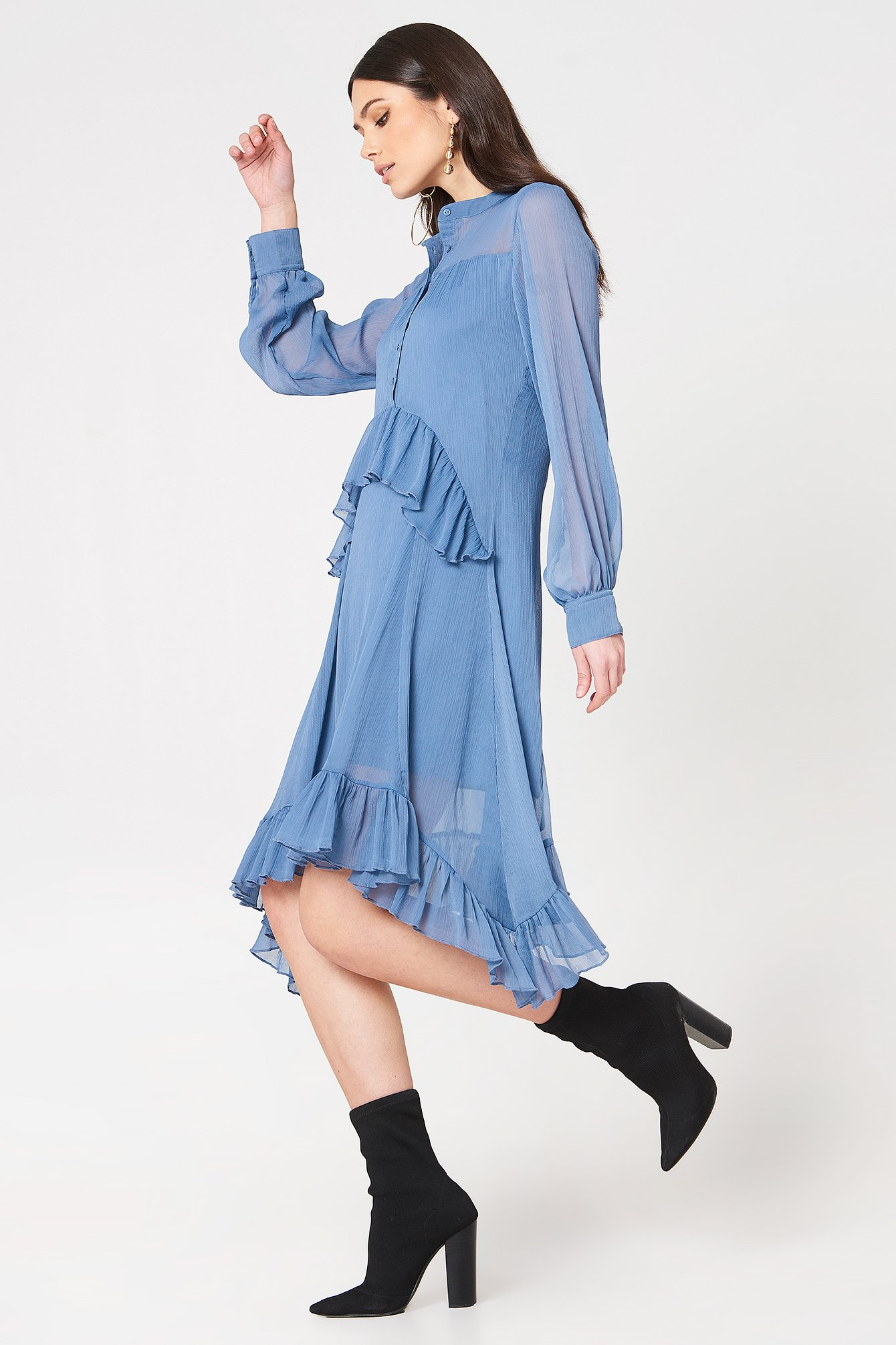 Side Dipp Frill Dress NA-KD.COM