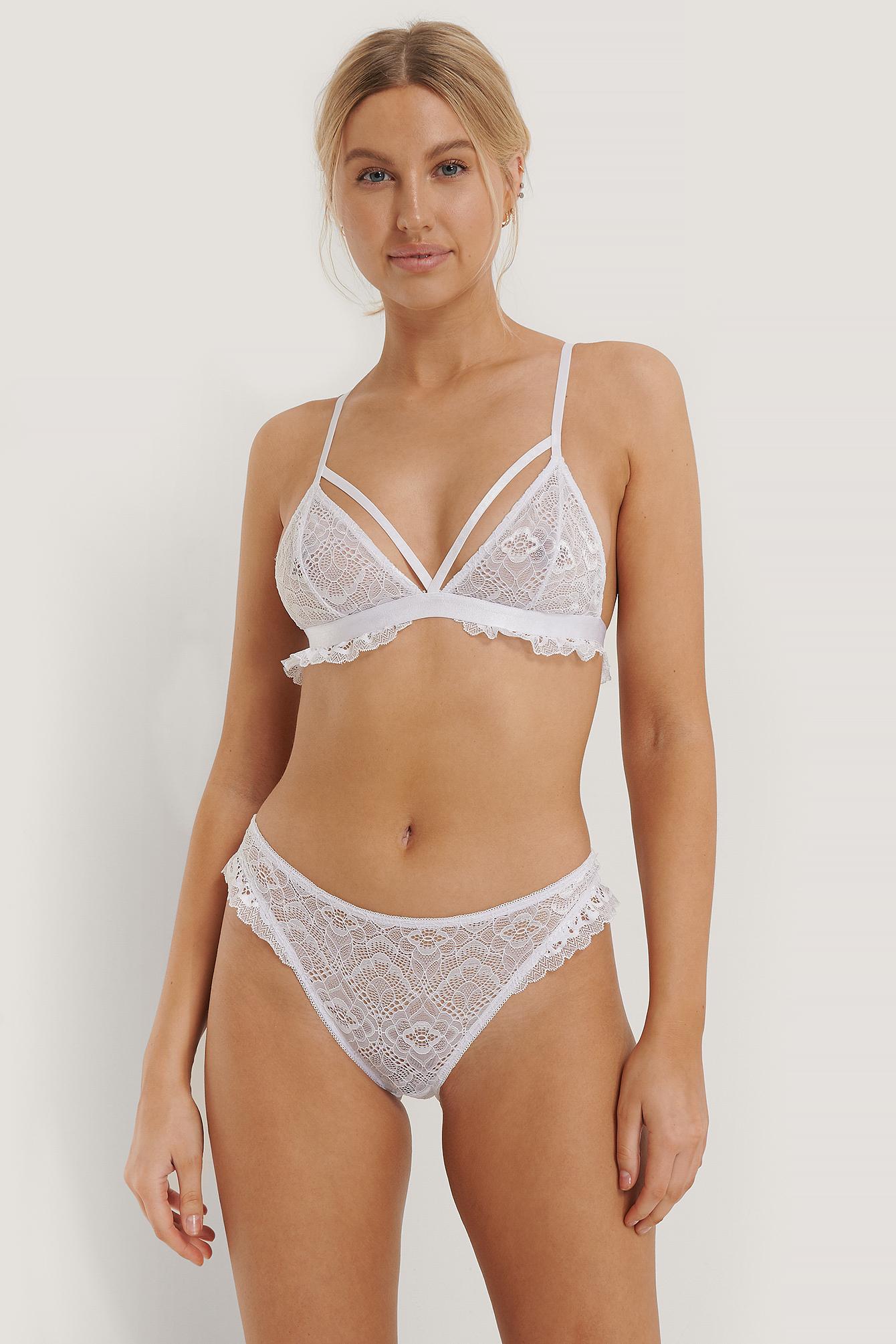 NA-KD Lingerie Blondetrusse - White