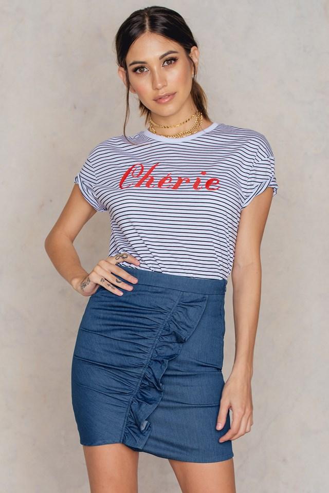 Side Frill Mini Denim Skirt Mid Blue