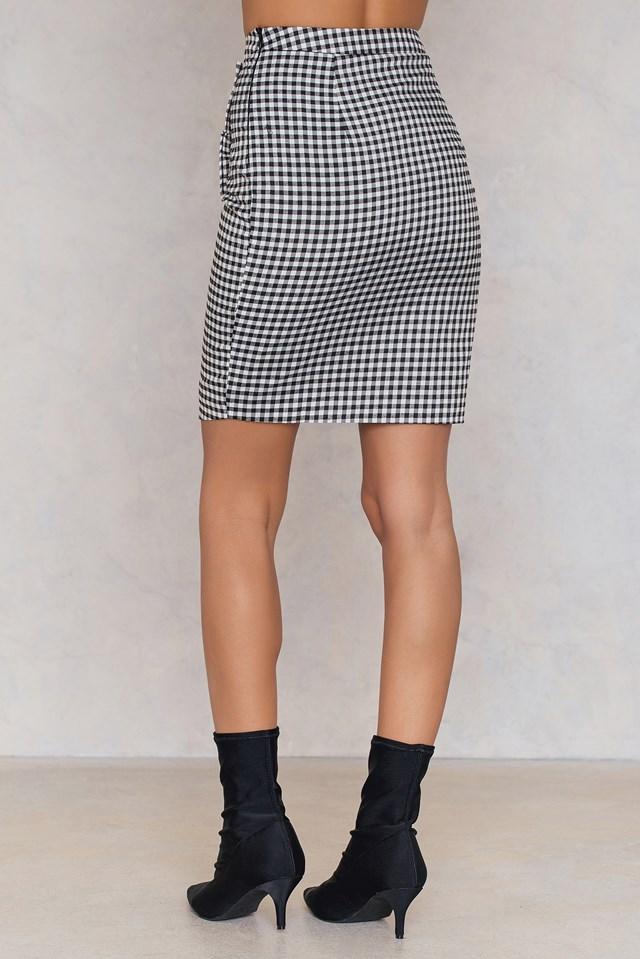 Side Frill Pencil Skirt Gingham