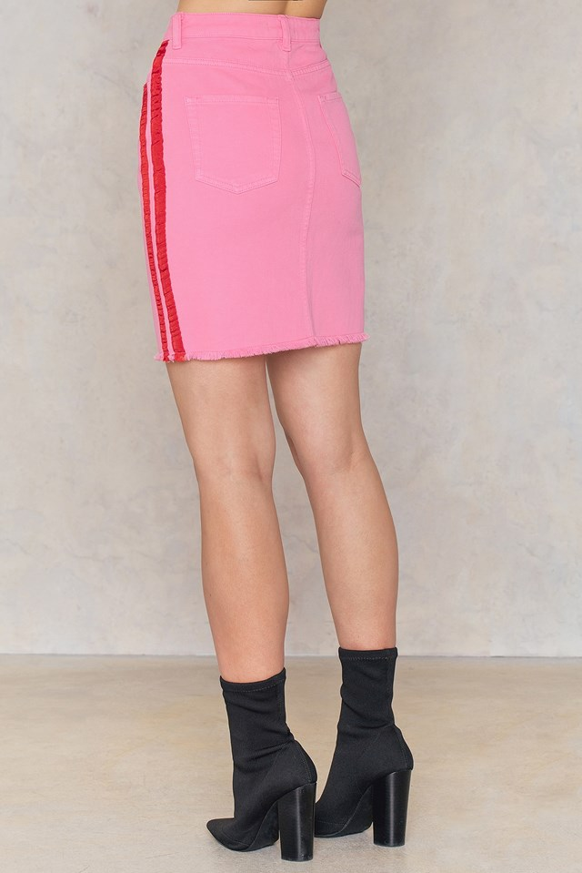 Side Panel Denim Skirt Pink