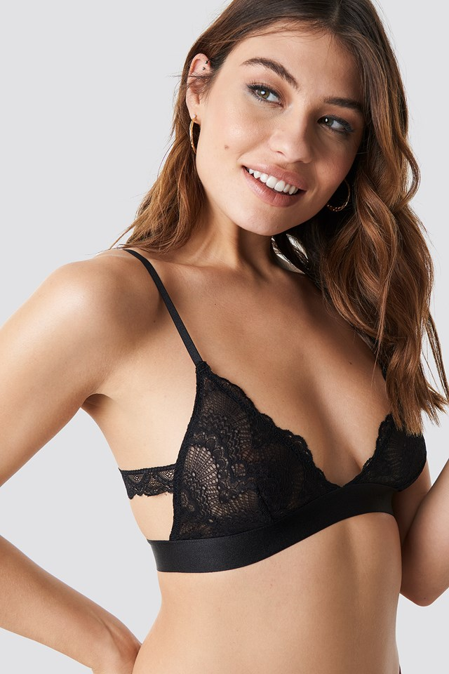 Side Panel Lace Bra Black
