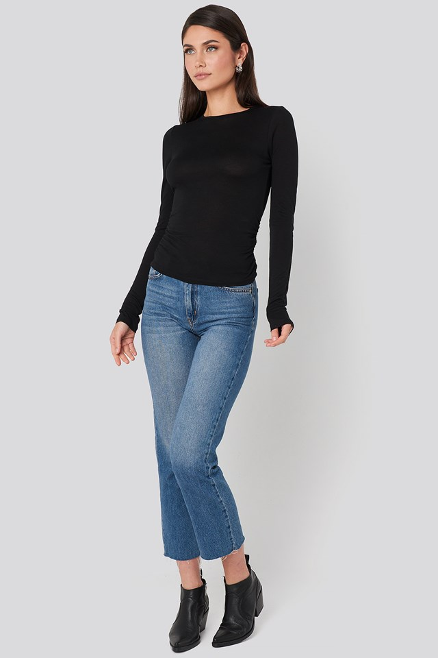 Side Ruched Long Sleeve Top Black