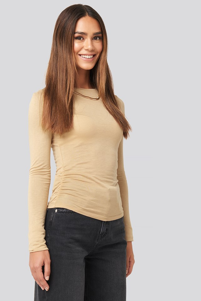 Side Ruched Long Sleeve Top Beige
