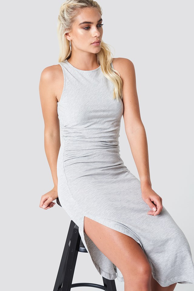 Side Ruching Dress Grey Melange