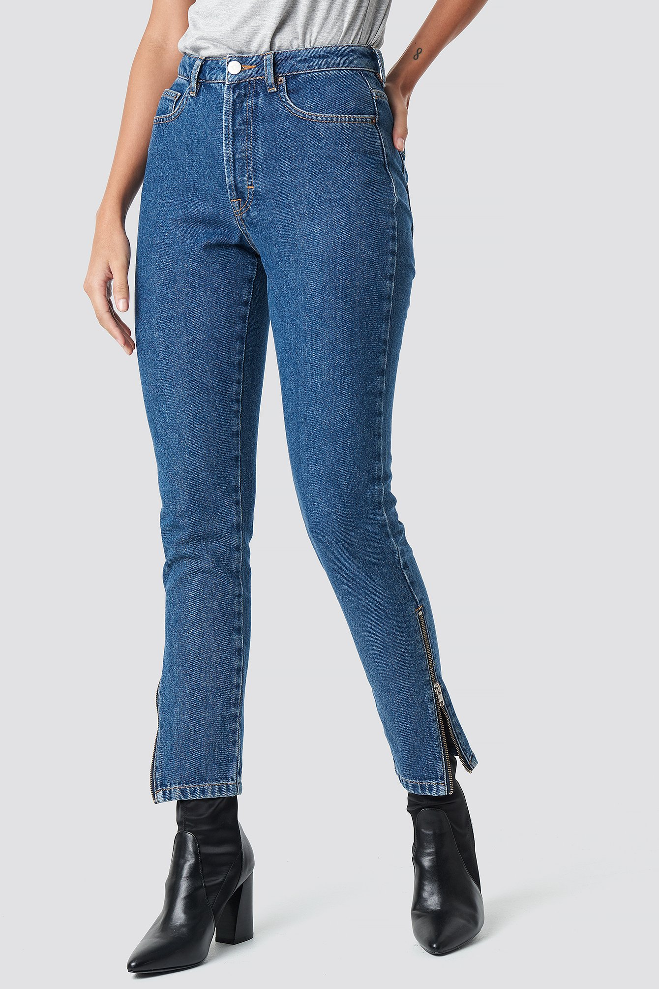 Side Seam Zipper Denim  NA-KD.COM