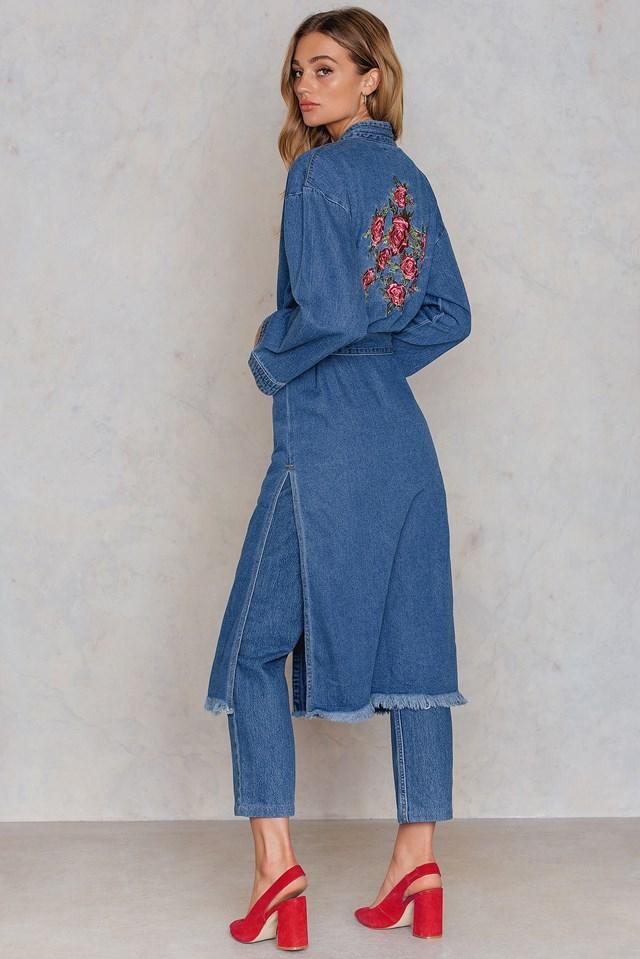 Side Slit Denim Kimono NA-KD.COM