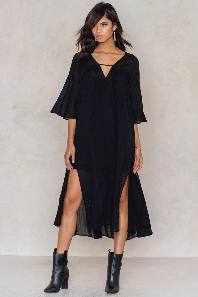 Side Slit Caftan Black