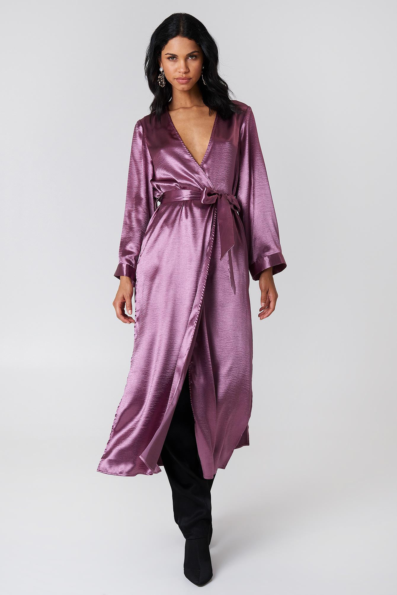 na-kd party -  Side Slit Satin Coat - Purple