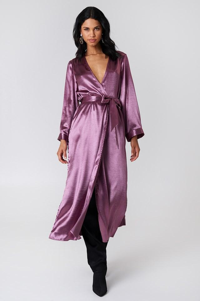 Side Slit Satin Coat Purple