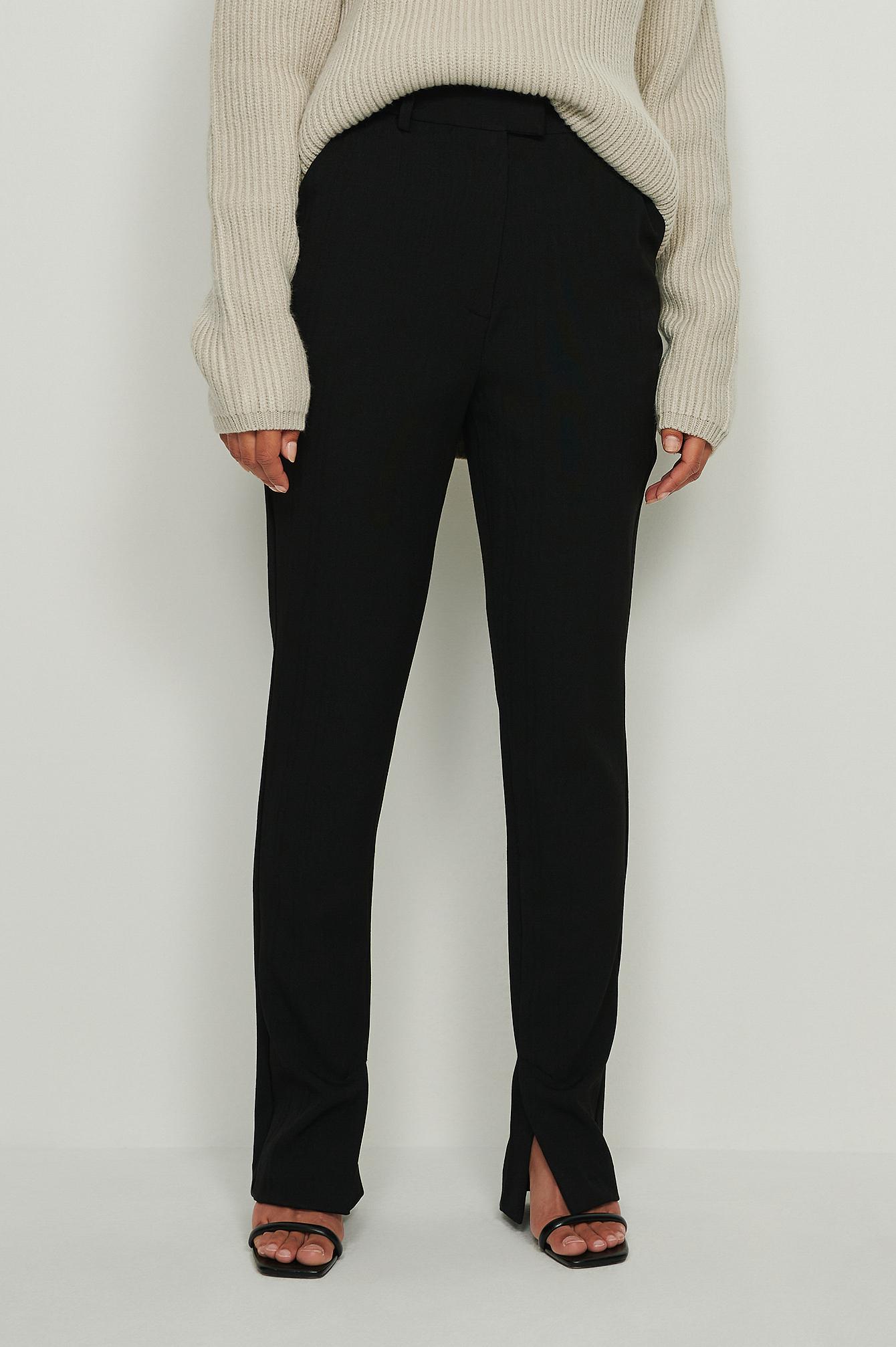 na-kd classic -  Recycelt Zugeschnittene Anzughose Mit Seitenschlitz - Black
