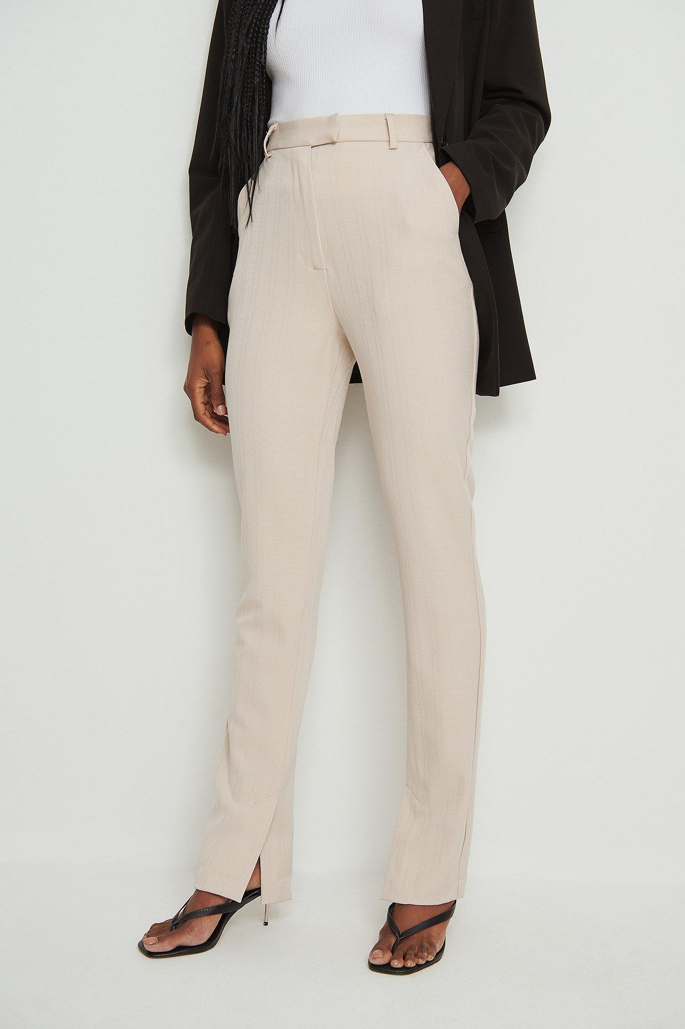 na-kd classic -  Recycelt Zugeschnittene Anzughose Mit Seitenschlitz - Beige