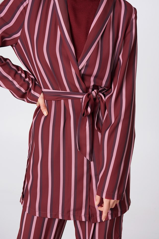 Side Slit Tied Waist Blazer Burgundy Triple Stripes