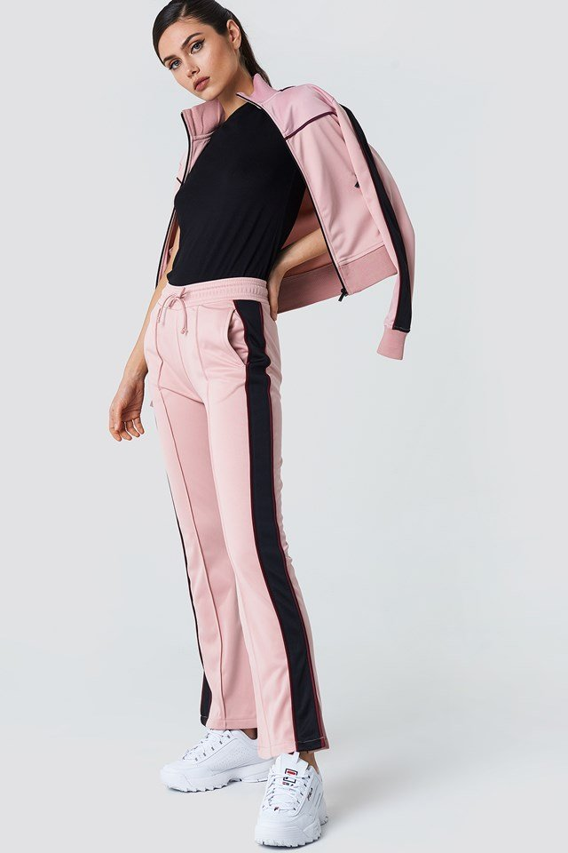 Side Slit Track Pants Pink