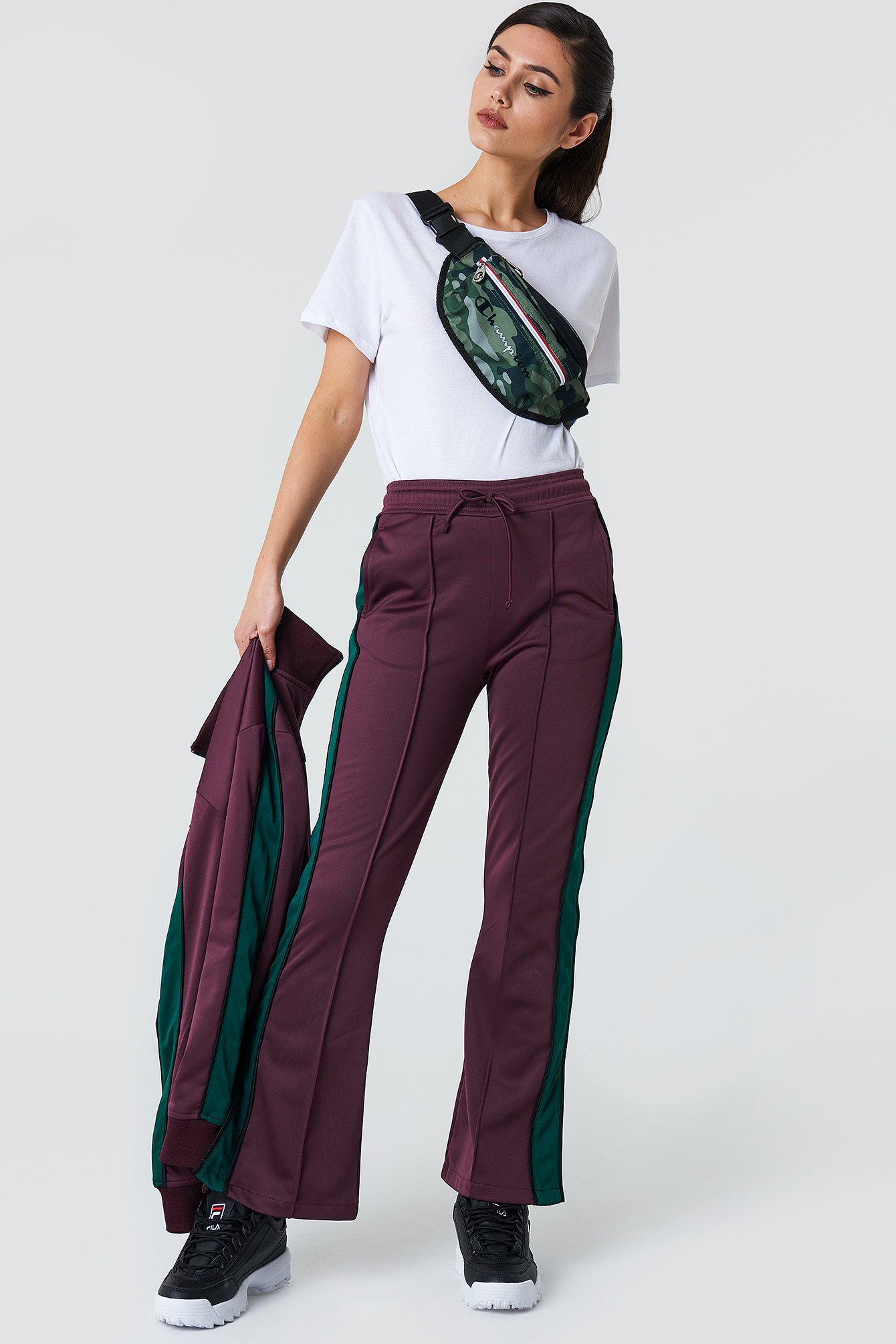 na-kd -  Side Slit Track Pants - Purple