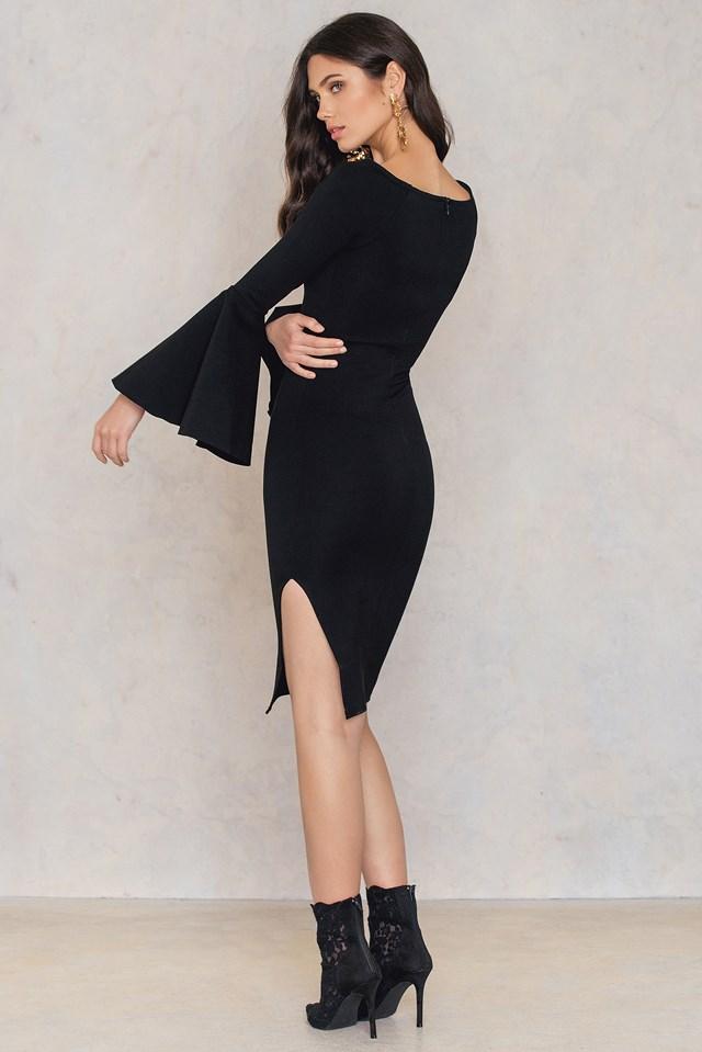 Side Slit Wide Sleeve Dress Black