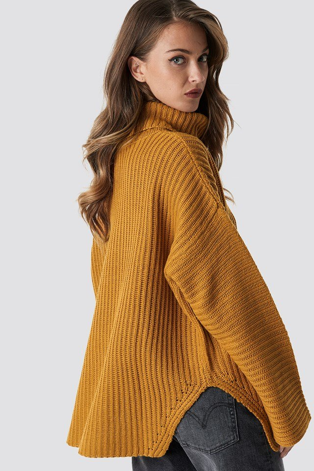 Side Slits High Neck Sweater Mustard
