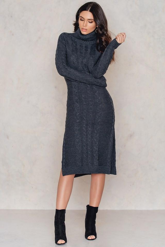 Side Slit Braided Knitted Dress NA-KD.COM